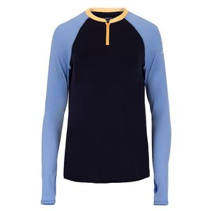 Women`s UV Long Sleeve Tennis Crew with Zipper Midnight