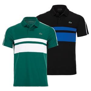 Men`s Chemise Col Bord-Cotes Manches Courtes Stripe Tennis Polo