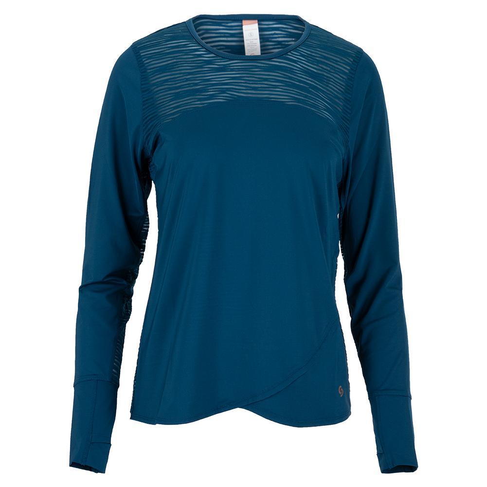 Women's Blue Abyss Long Sleeve Tennis Top Poseidon