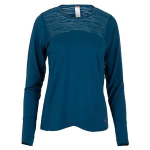 Women`s Blue Abyss Long Sleeve Tennis Top Poseidon