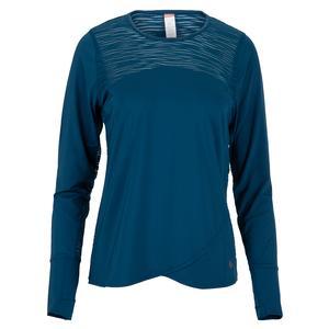Women`s Blue Abyss Long Sleeve Tennis Top Poseidon