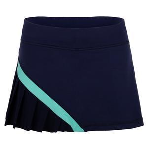 Women`s 12 Inch Tennis Skort Navy and Mint
