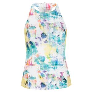 Women`s Tie Breaker Printed Racerback Tennis Tank Tie Die Print and White