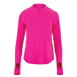 Women`s UV Tennis Crew with Zipper Flourescent Pink