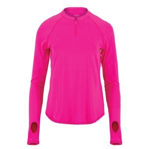 Women`s UV Tennis Crew with Zipper Flourescent Pink