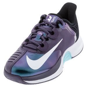 Women`s Court Air Zoom GP Turbo Tennis Shoes Dark Raisin and White