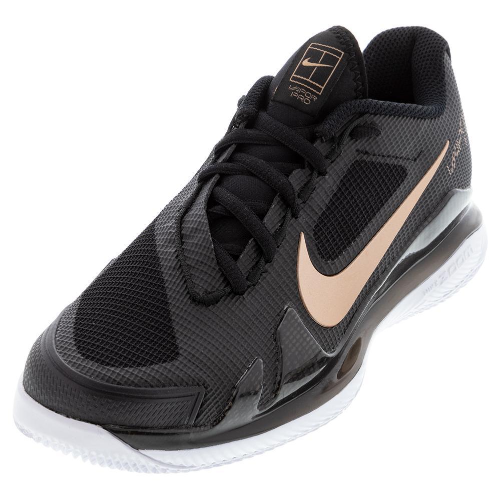 Women's Air Zoom Vapor Pro Tennis Shoes Black And Metallic Red Bronze