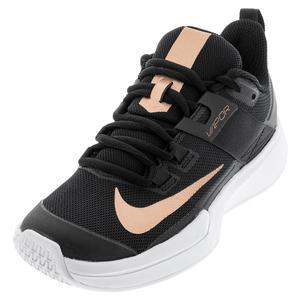 Women`s Vapor Lite Tennis Shoes Black and Metallic Red Bronze