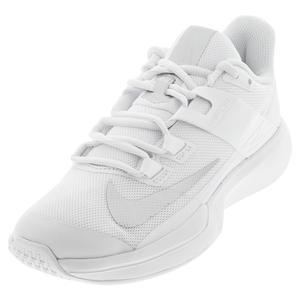 Women`s Vapor Lite Tennis Shoes White and Metallic Silver