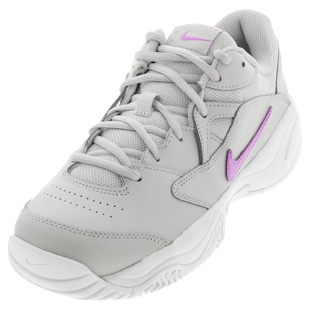 Women's Court Lite 2 Tennis Shoes Photon Dust And Fuchsia Glow