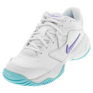 Women`s Court Lite 2 Tennis Shoes White and Purple Pulse
