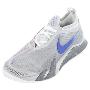 Men`s Court React Vapor NXT Tennis Shoes Light Smoke Grey and Hyper Royal