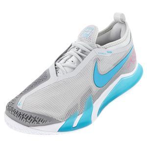 Men`s React Vapor NXT Tennis Shoes Grey Fog and Chlorine Blue