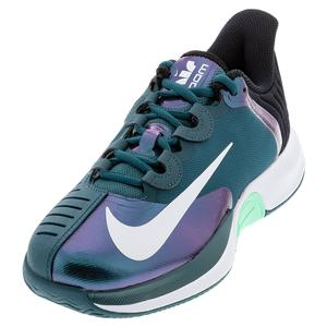 Men`s Court Air Zoom GP Turbo Tennis Shoes Dark Teal Green and White