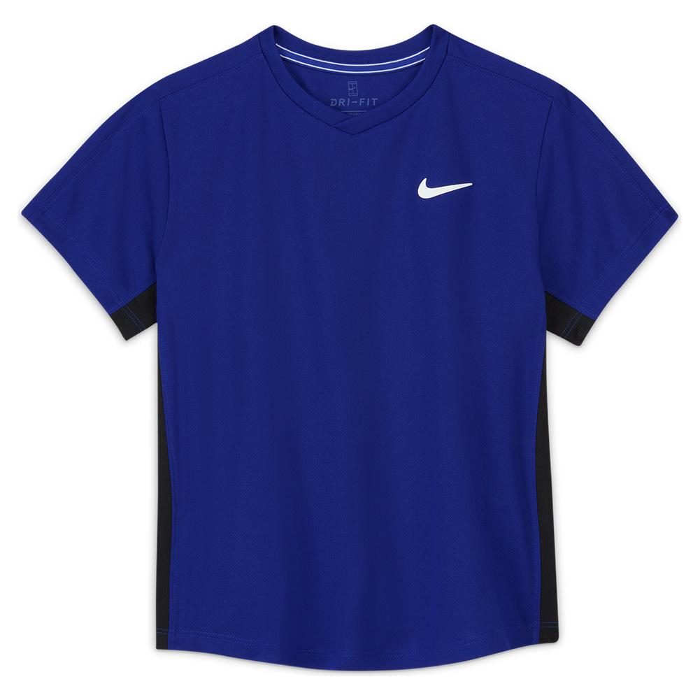 Boys ` Court Dri- Fit Victory Short Sleeve Tennis Top Concord And Black