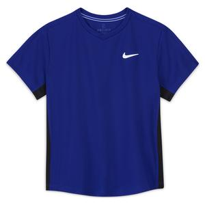 Boys` Court Dri-FIT Victory Short Sleeve Tennis Top Concord and Black