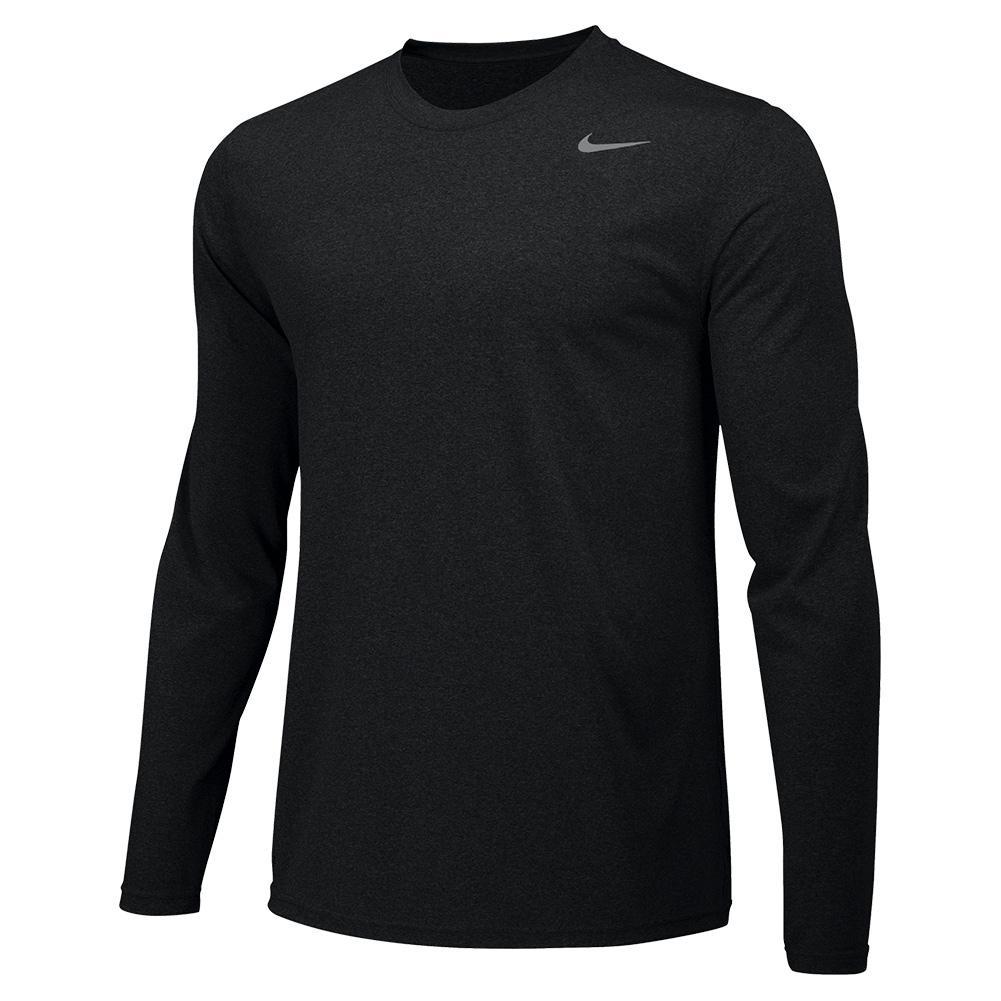 Men's Legend Long- Sleeve Training Crew Black And Cool Grey