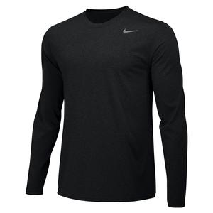 Men`s Legend Long-Sleeve Training Crew Black and Cool Grey