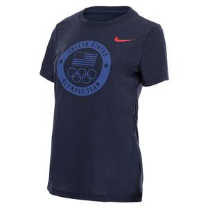 Women`s Dri-Blend USOC Olympic Stealth Tee Obsidian and University Red