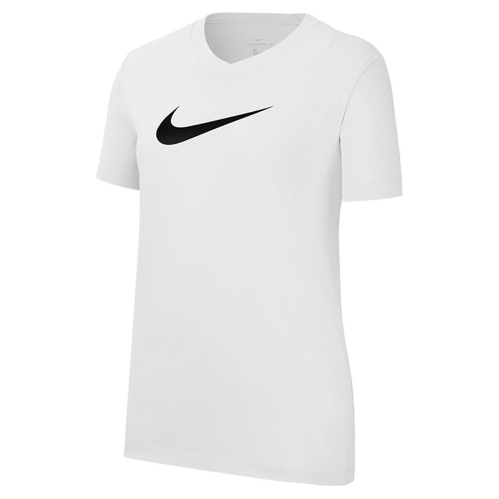 Girls ` Dri- Fit Swoosh Training T- Shirt White And Black