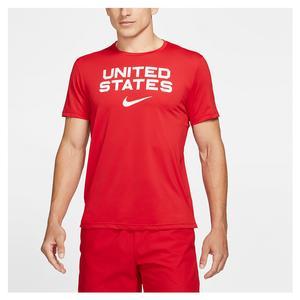 Men`s Dri-FIT Training T-Shirt University Red and White