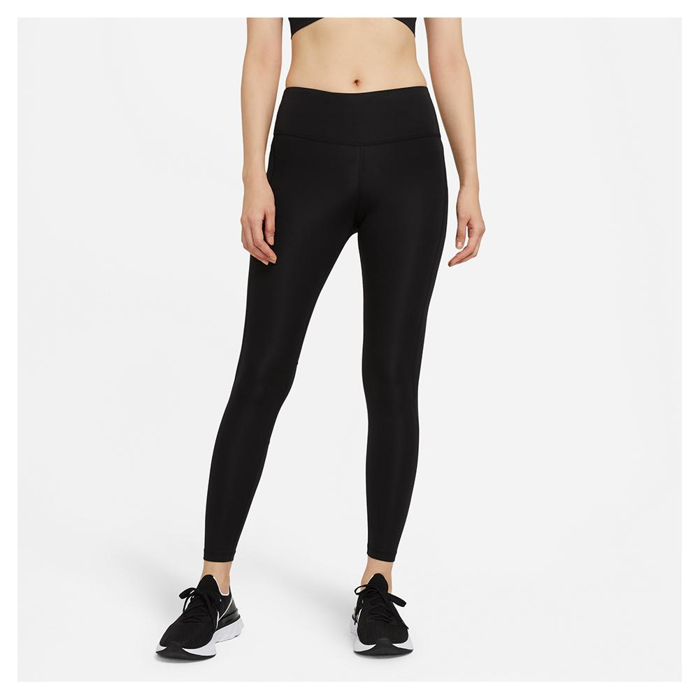 Women's Epic Fast Running Tights Black And Reflective Silver