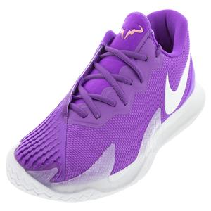 Men`s Rafa Court Zoom Vapor Cage 4 Tennis Shoes Wild Berry and White