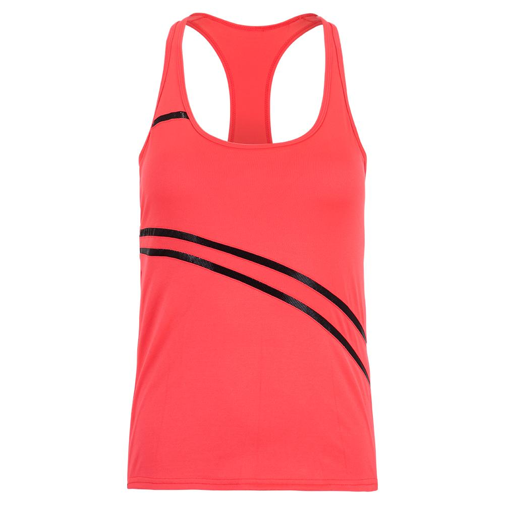 Women's Angelika Tennis Tank Vibrant Red And Black