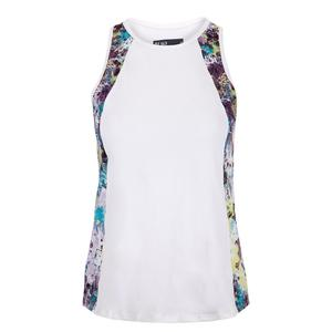 Women`s Vertical Tennis Tank White and Splatter