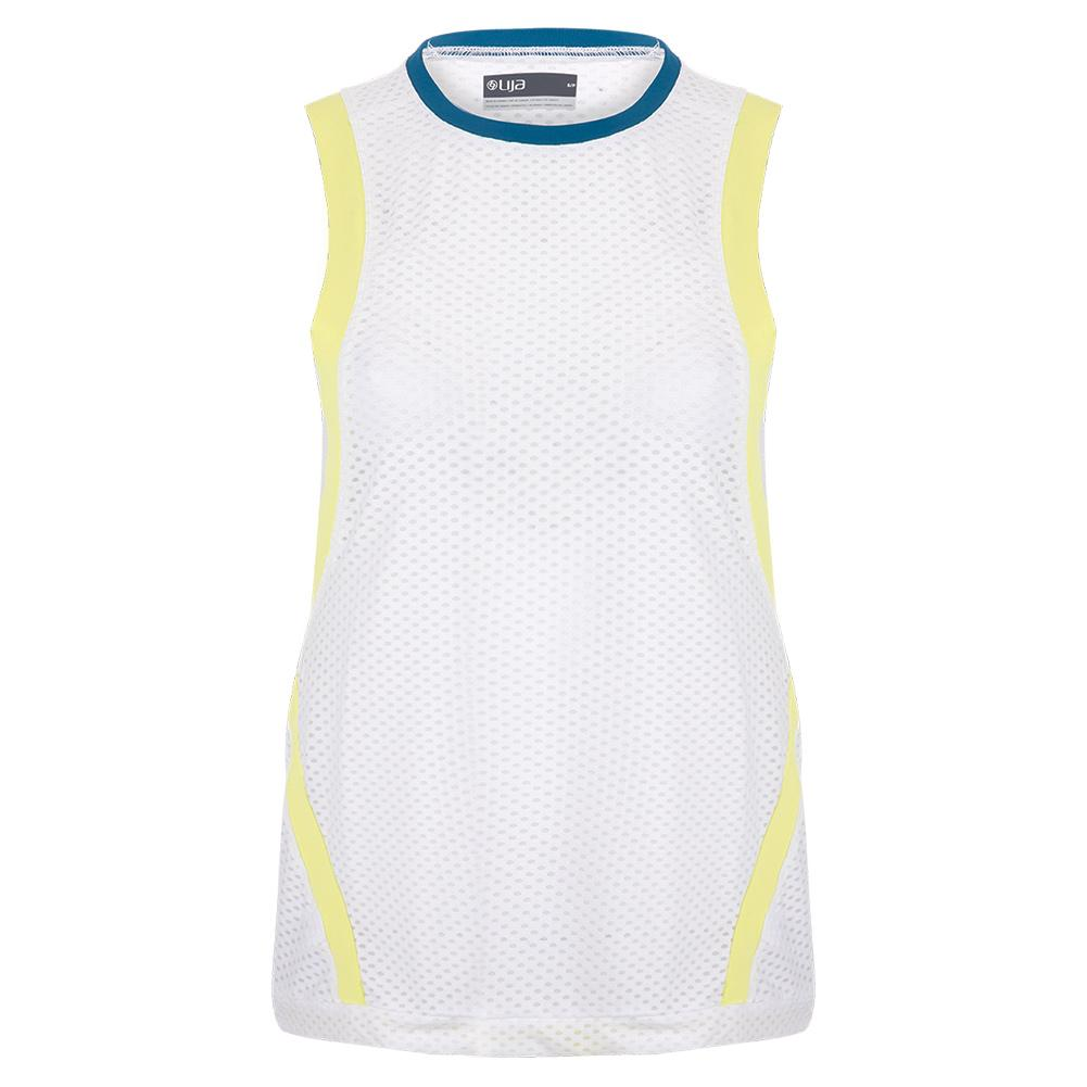 Women's Level Tennis Tank White And Limeade