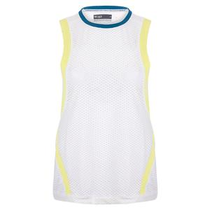 Women`s Level Tennis Tank White and Limeade