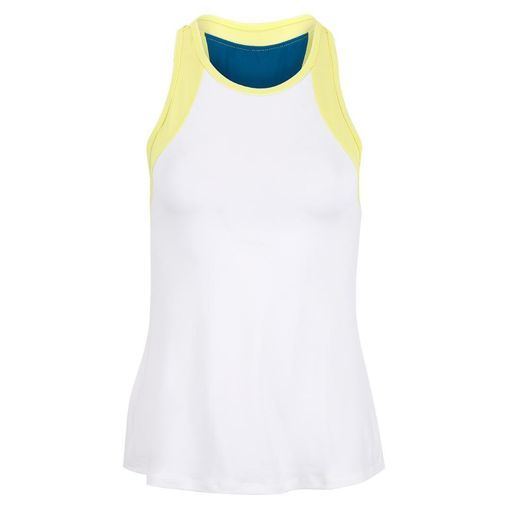 Women's Echo Tennis Tank White And Limeade