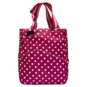 Women`s Tennis Tote Fuchsia and White Dots