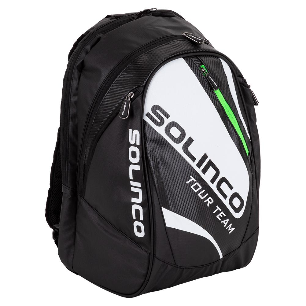 Tour Team Tennis Backpack White And Black With Green Zipper Lining