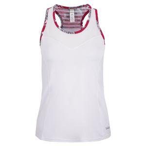 Women`s Cherry Blossom Racerback Tennis Tank White and Print