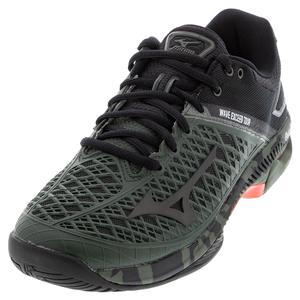 Men`s Wave Exceed Tour 4 AC Tennis Shoes Climbing Ivy and Black