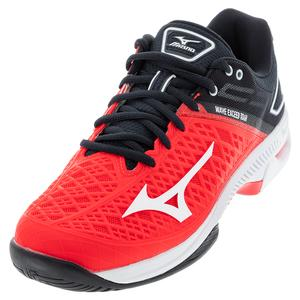 Men`s Wave Exceed Tour 4 AC Tennis Shoes Ignition Red and White