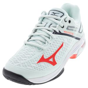 Women`s Wave Exceed Tour 4 AC Tennis Shoes Wan Blue and Ignition Red