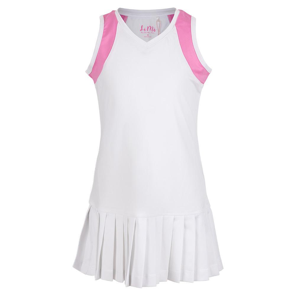 Girls ` Color Block Pleat Tennis Dress White