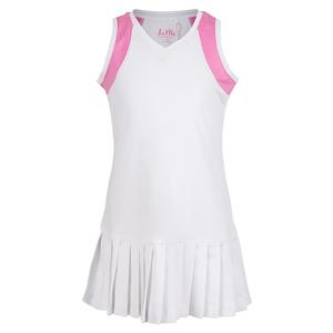 Girls` Color Block Pleat Tennis Dress White