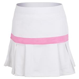 Girls` Semi Pleat Trim Tennis Skort White