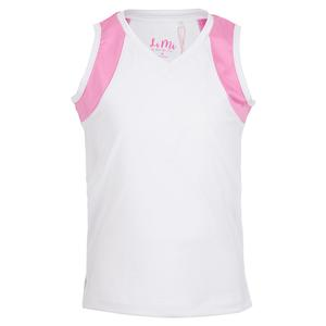 Girls` Color Block V-Neck Tennis Tank White