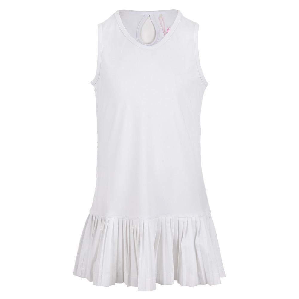 Girls ` Keyhole Back Tennis Dress With Mini Pleat White