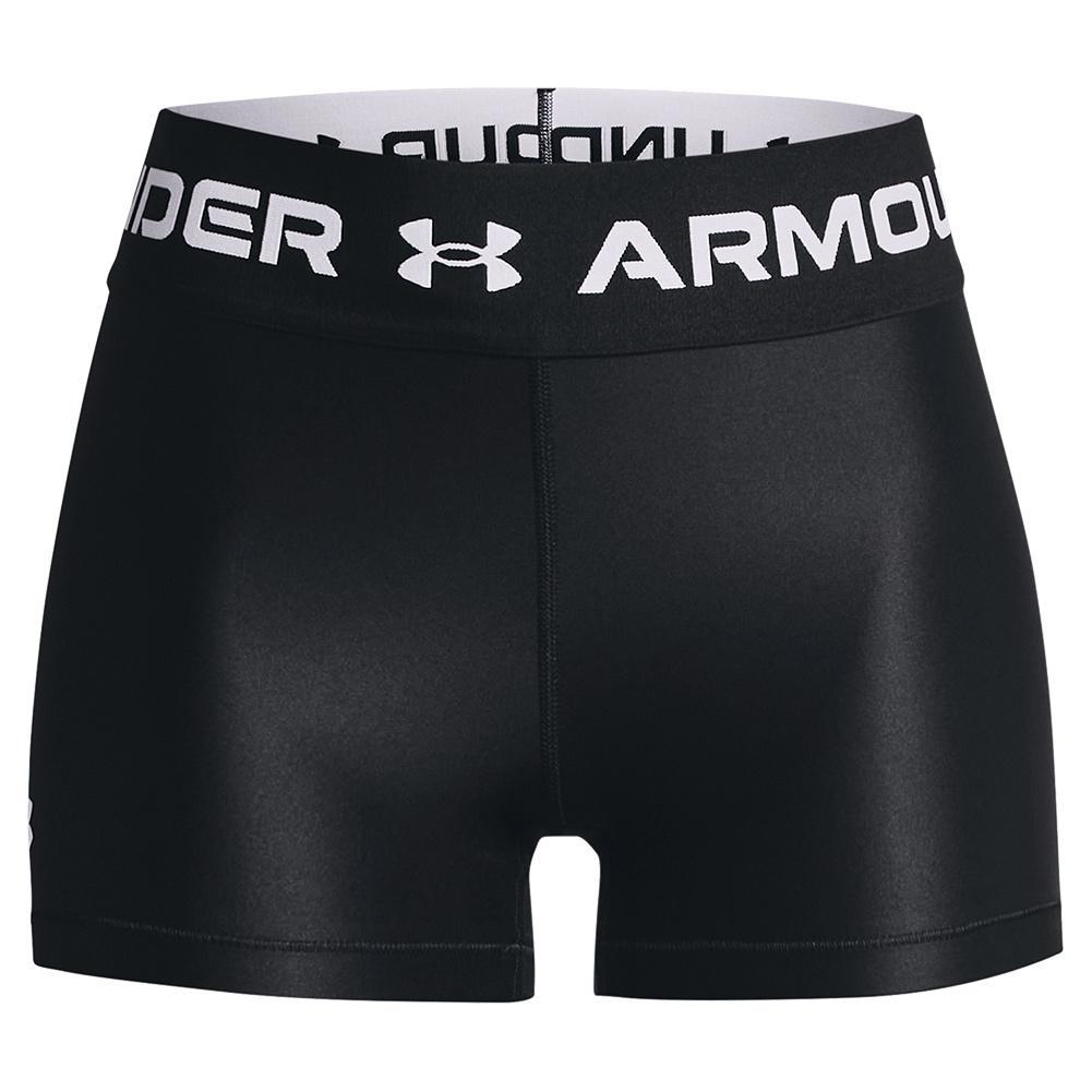 Women's Heatgear Armour Wordmark Waistband Shorty Black And White