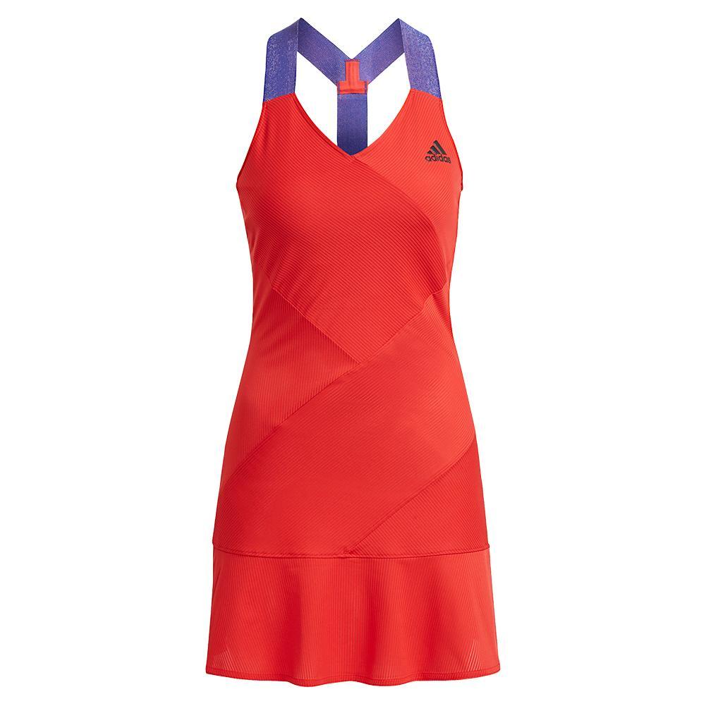 Women's Primeblue Aeroready Y- Back Tennis Dress Scarlet And Black
