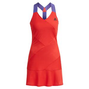 Women`s Primeblue AEROREADY Y-Back Tennis Dress Scarlet and Black