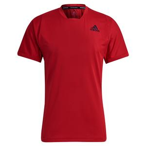 Men`s Primeblue FreeLift Tennis Top Scarlet and Black