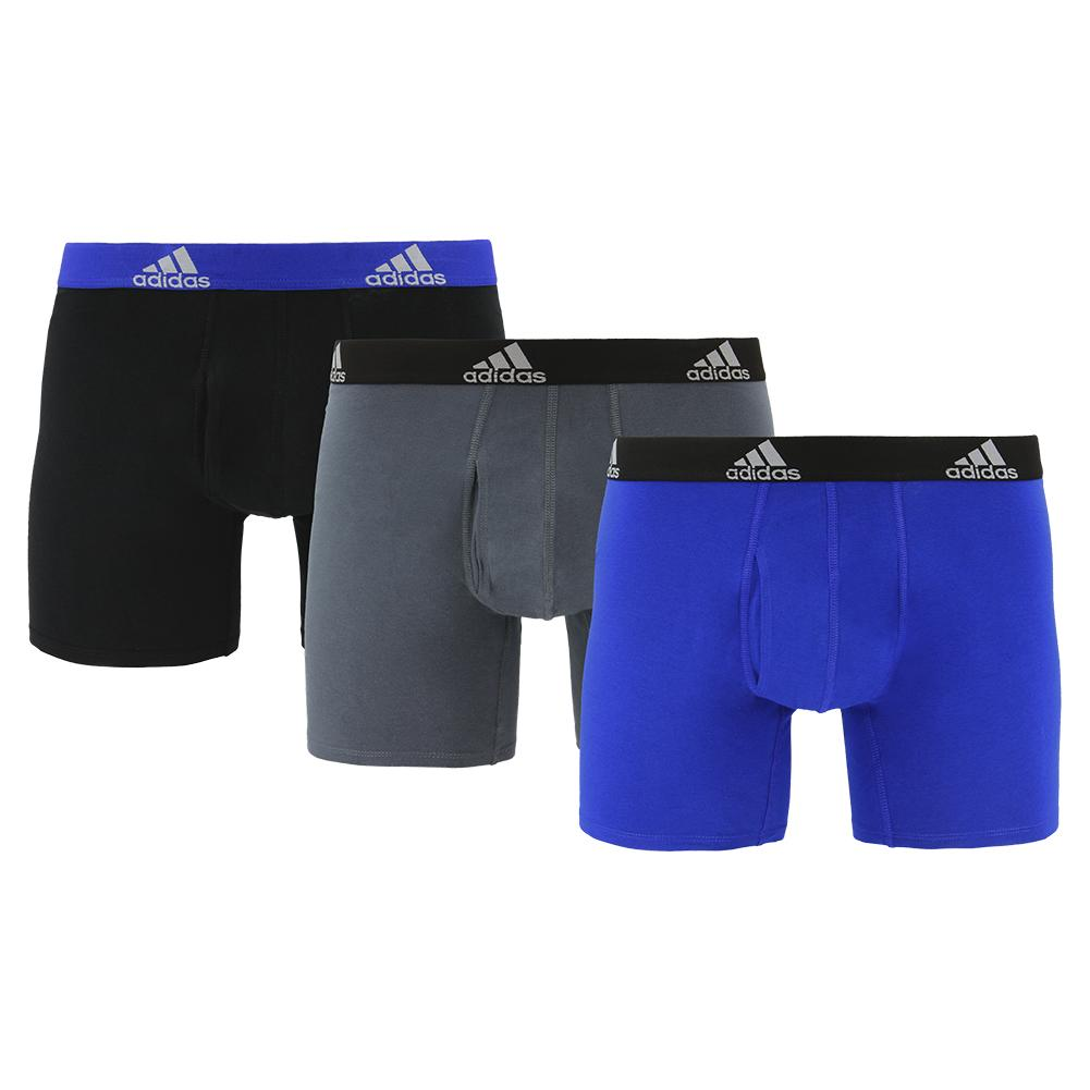 Men's Stretch Cotton Boxer Briefs 3 Pack Bold Blue And Onix