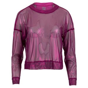 Women`s Goddess Mesh Long Sleeve Tennis Top Passion Pink