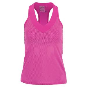 Women`s Wavy V-Neck Tennis Tank with Bra Passion Pink